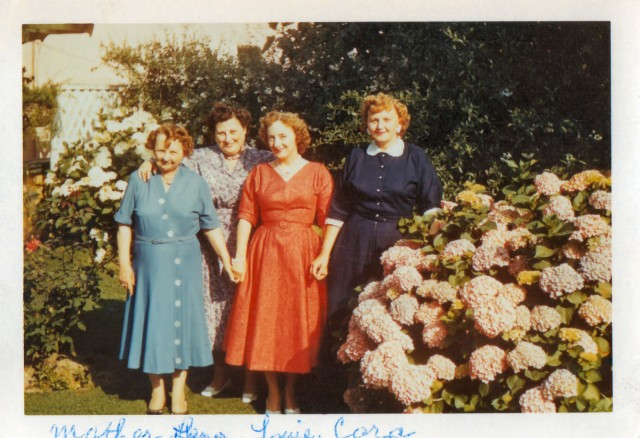 Auntie Cissie and girls in California