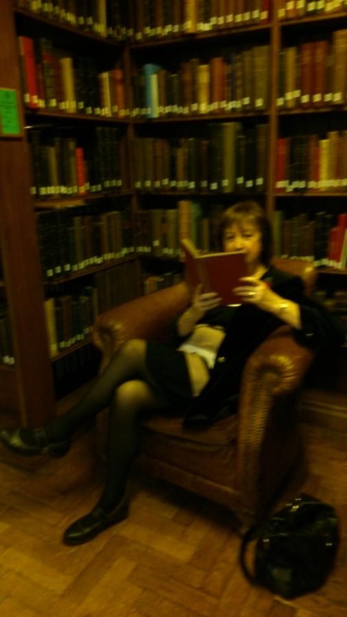 Hearth Maggie reading