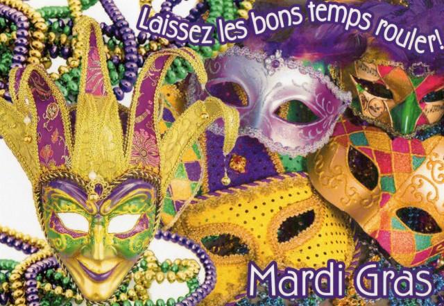 Mardi Gras postcard Laissez les bons temps rouler